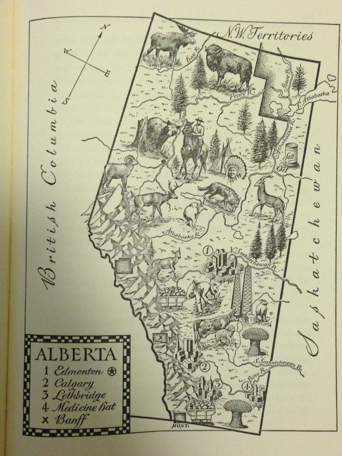 Alberta Map Print Canada Map Decor Vintage Map Of Alberta