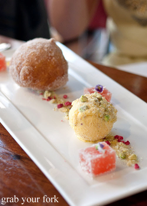 Nougat doughnut donut saffron honey ice cream turkish delight dessert sweet d'Arrys Verandah Restaurant, McLaren Vale