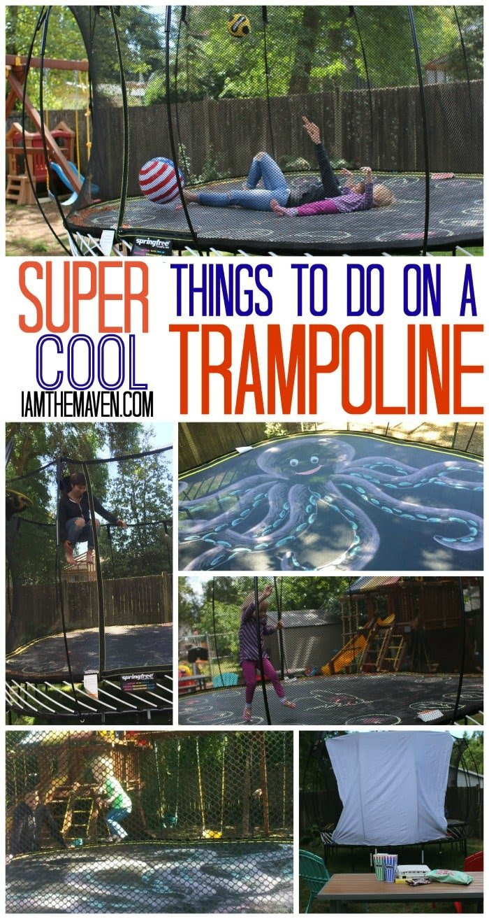 There's more to a trampoline than just bouncing. Check out how to turn your trampoline into a movie theater, or a chalkboard or lots of other ideas! #SpringfreeFamily #Sponsored