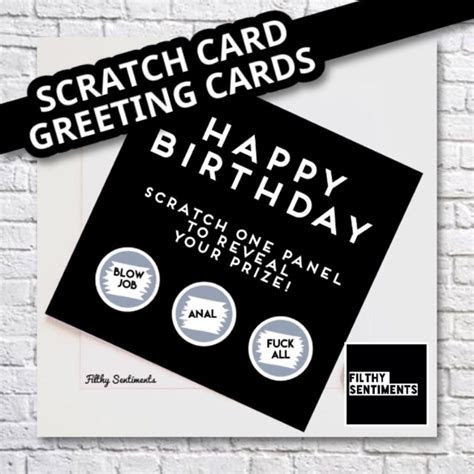 SCRATCH CARD GREETING CARDS   Filthy sentiments   birthday
