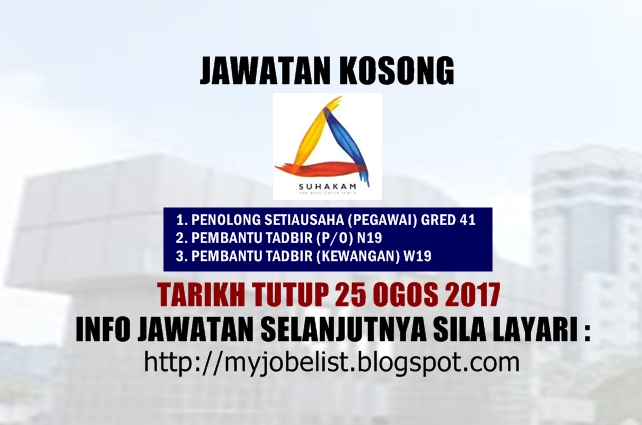 Jawatan Kosong Terkini di SUHAKAM Ogos 2017