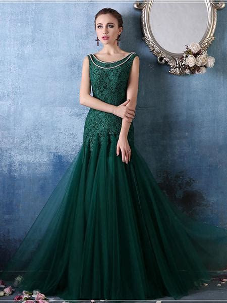 Forest Green Elegant Mermaid Fitted Lace Formal Evening