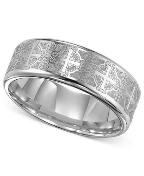 Triton Men's Tungsten Carbide Ring, Comfort Fit Etched