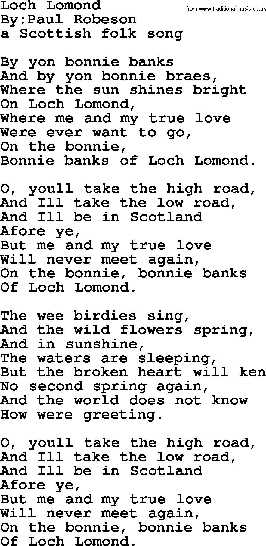 Loch Lomond Political Solidarity Workers Or Union Song Lyrics