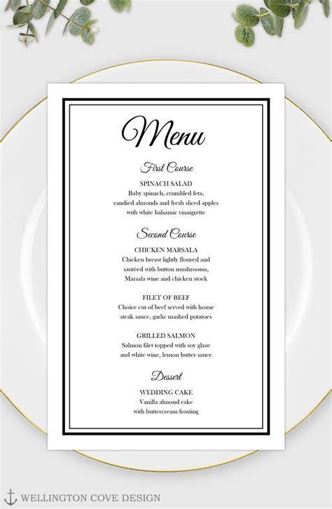 Printable Wedding Menu Template for Microsoft Word