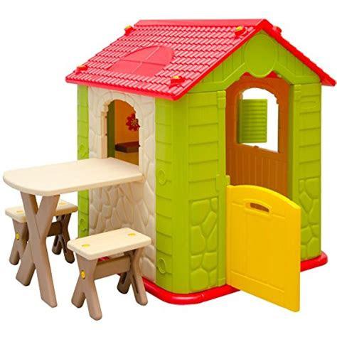 littletom kinderspielhaus mit tisch und  sitzbaenken