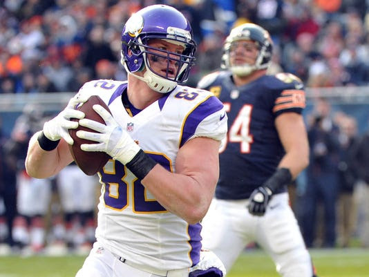 Vikings tight end Kyle Rudolph has caught touchdown passes in three