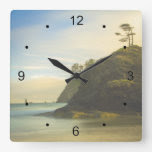 Mountain Side Ocean View Square Wall Clock