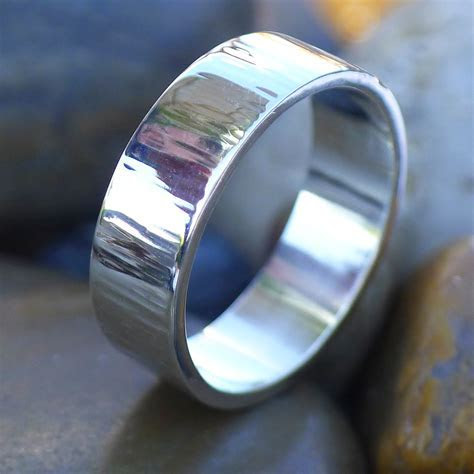 6mm Flat Wedding Ring with Tree Bark Finish in Sterling