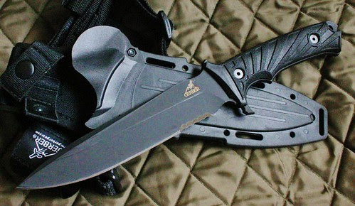 """Gerber LHR Combat Knife 6.87"""" Fixed Blade, Reeve and Harsey Design, Strap On Sheath"""