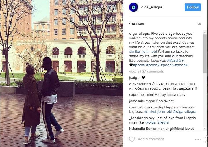 Mikel Obi And Olga Diyachenko Celebrate Five Years Of Relationship