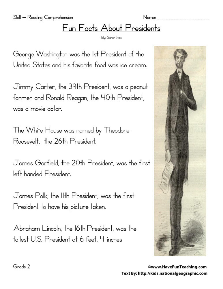 Reading Prehension Worksheet Fun Facts About Presidents