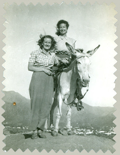 Two women and donkey
