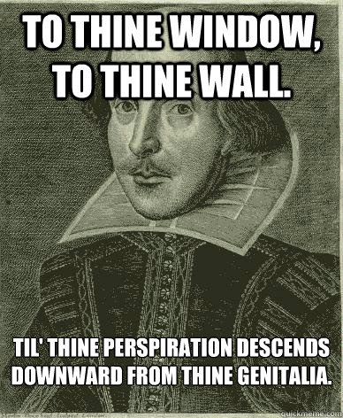 To Thine Window To Thine Wall Till Thine Perspiration Descends