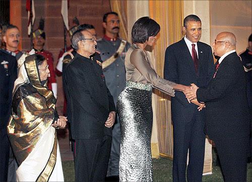 Captain C P Krishnan Nair with US president Barack Obama and Michelle Obama.