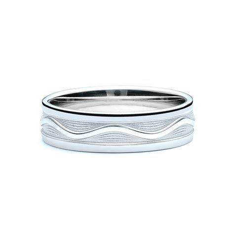 White Gold Wave Men's Wedding Band   JM Edwards Jewelry