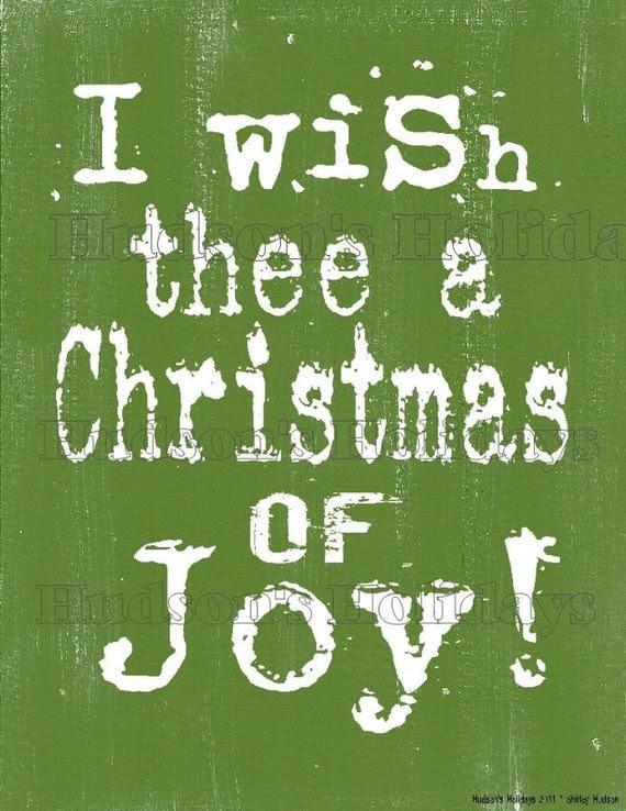 I wish thee a Christmas of joy sign digital   - uprint NEW 2011 art words primitive vintage paper old pdf 8 x 10 frame saying