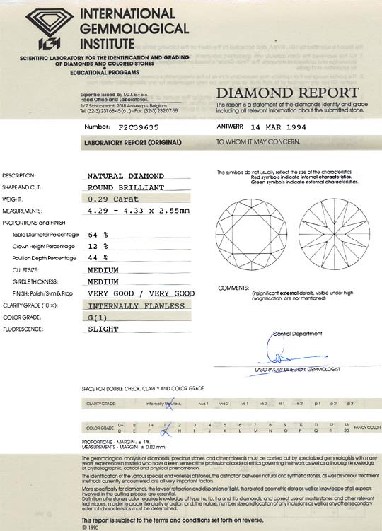 Original-Foto 9, DIAMANT 0,29 ct BRILLIANT IGI LUPENREIN TOP WESSELTON G, D6168