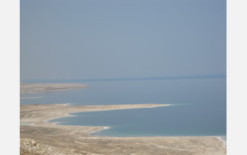 Photo of the west coast of the Dead Sea, Israel, at an elevation of 415 meters below sea level.