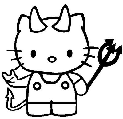 happy halloween hello kitty coloring pages