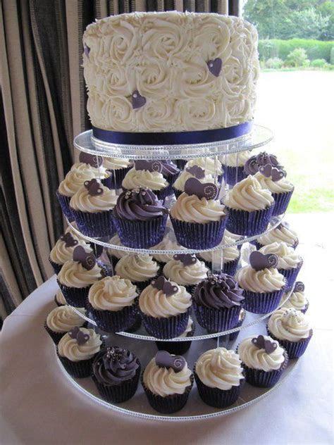Cupcake Tower in Cadbury Purple and White   Wedding