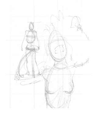 Initial rough layout sketch for Upset Girl poster from I AM STILL YOUR CHILD by Von Allan