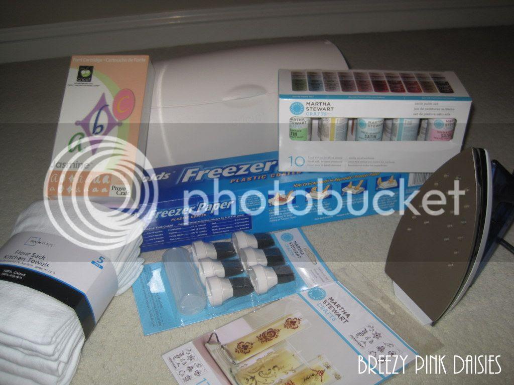 DIY Stenciled Ktichen Towel Supplies {Breezy Pink Daisies}