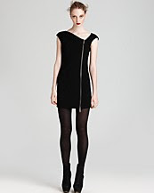 Rachel Zoe Asymmetric Short Sleeve Zip Tassle Dress