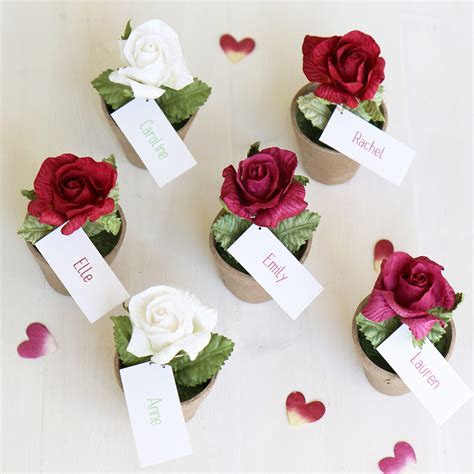 Rose Favour for Weddings & Parties   Name Place & Table