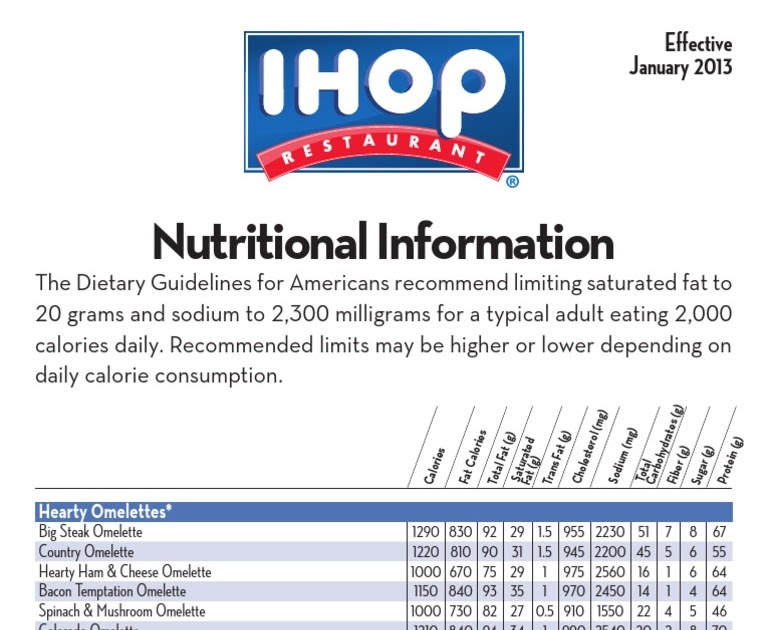 Ihop Menu With Nutrition Facts Nutrition Pics