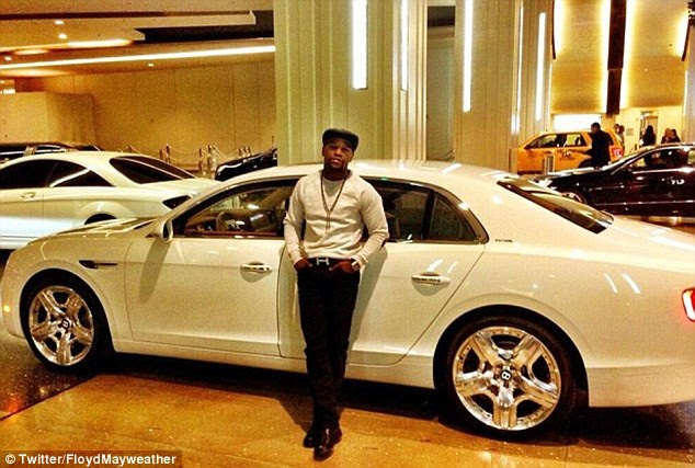 Mayweather posted a picture of himself with a Bentley Flying Spur back ...