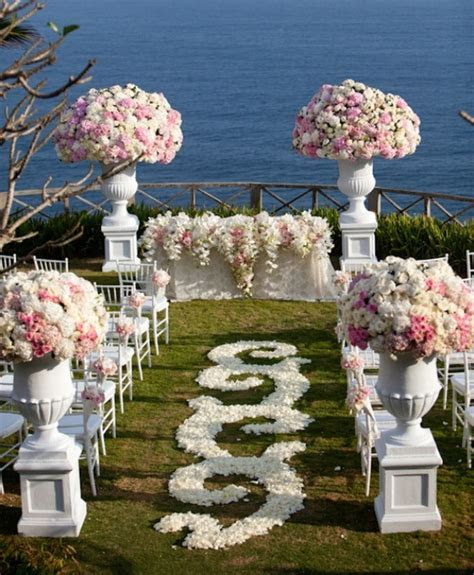 Victorian wedding ceremony flower garden aisle decorations