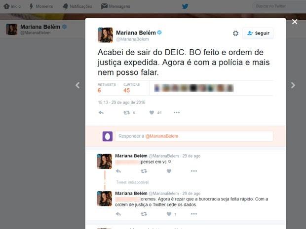 Filha de Fafá de Belém postou que procurou a polícia para prestar queixas contra quem fez as ameaças (Foto: Reprodução / Twitter)