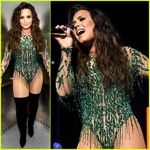 Demi Lovato Rocks Green Bodysuit for Performance in Vegas!