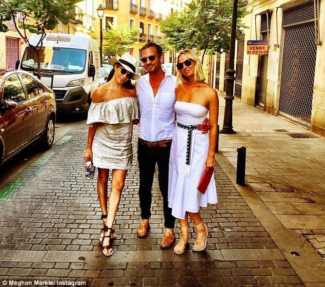 Markus, Meghan and Misha jetted to Europe for a vacation over the summer. Misha (left) is married, but reportedly separated from, Harry's old friend, Alexander Gilkes.