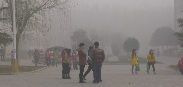 Air pollution enveloped the campus at Anyang Normal University, Henan Province, China. (Credit: V.T. Polywoda/Flickr)