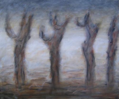 Tree Trunks in Gray Landscape / 灰色風景裡的樹幹 / Baumstämme in Grau Landschaft