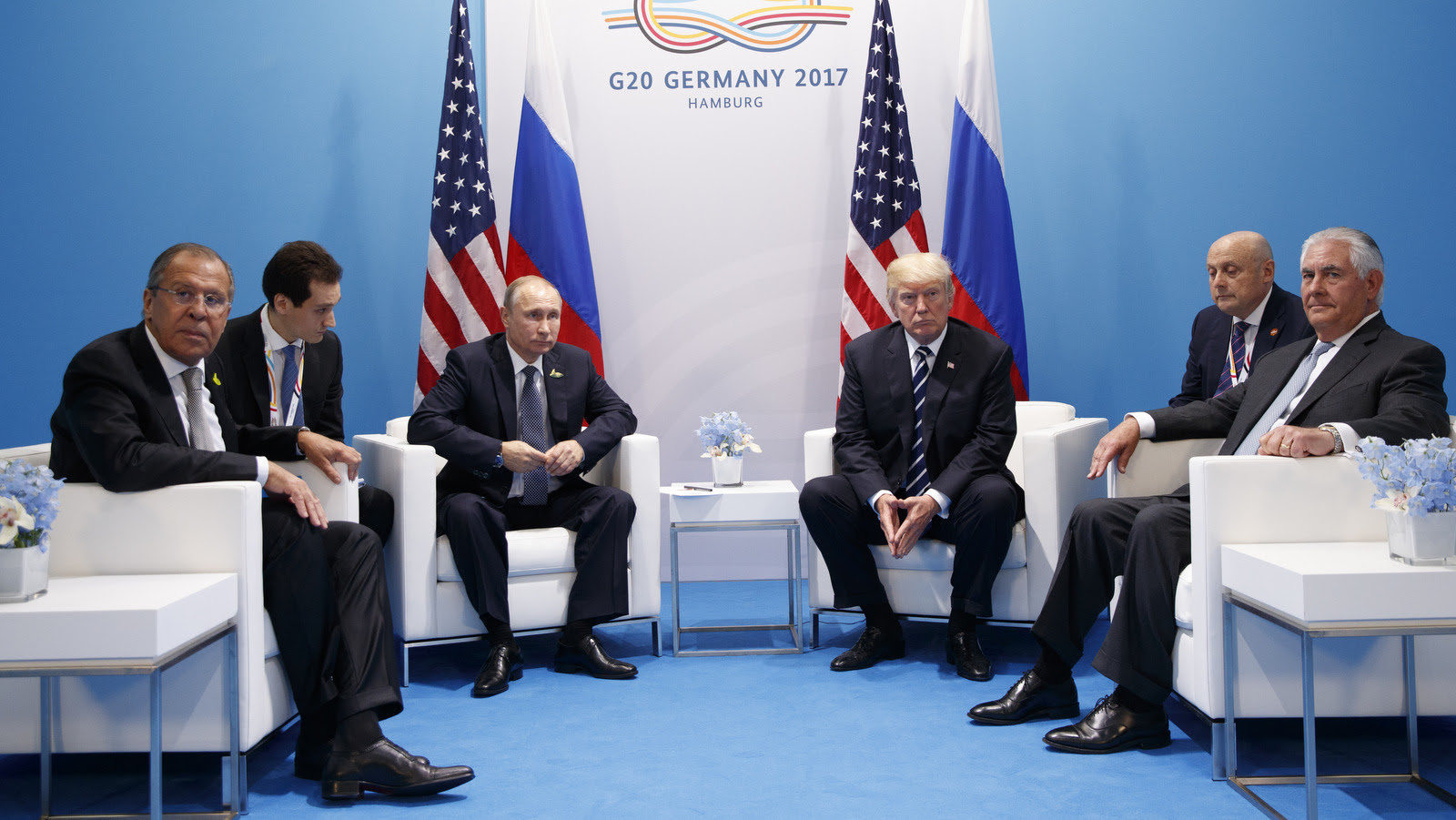 Donald Trump meets with Russian President Vladimir Putin at the G20 Summit, in Hamburg. A separate US-Russia-brokered truce for southern Syria, brokered by the U.S. and Russia, is finding support by both Iran and Israel.Russian Foreign Minister Sergey Lavrov is at left, Secretary of State Rex Tillerson is at right. (AP/Evan Vucci)