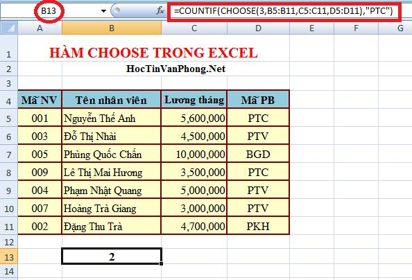 kết hợp hàm Countif và Hàm Choose trong Excel
