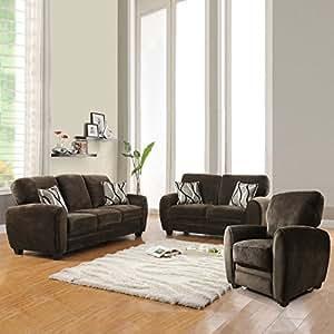 Amazon.com - Enria Plush Sofa Set - Chocolate - Living ...