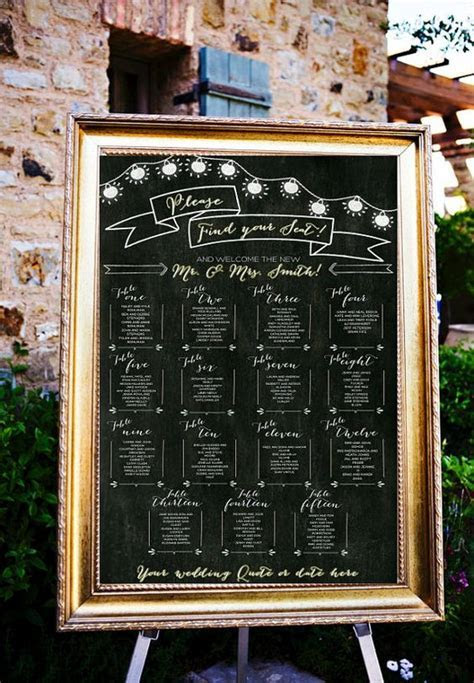 Chalkboard Wedding Table Assignments Board, Wedding