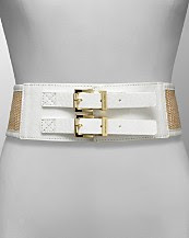 MICHAEL Michael Kors Women's Straw Double Buckle Leather Belt
