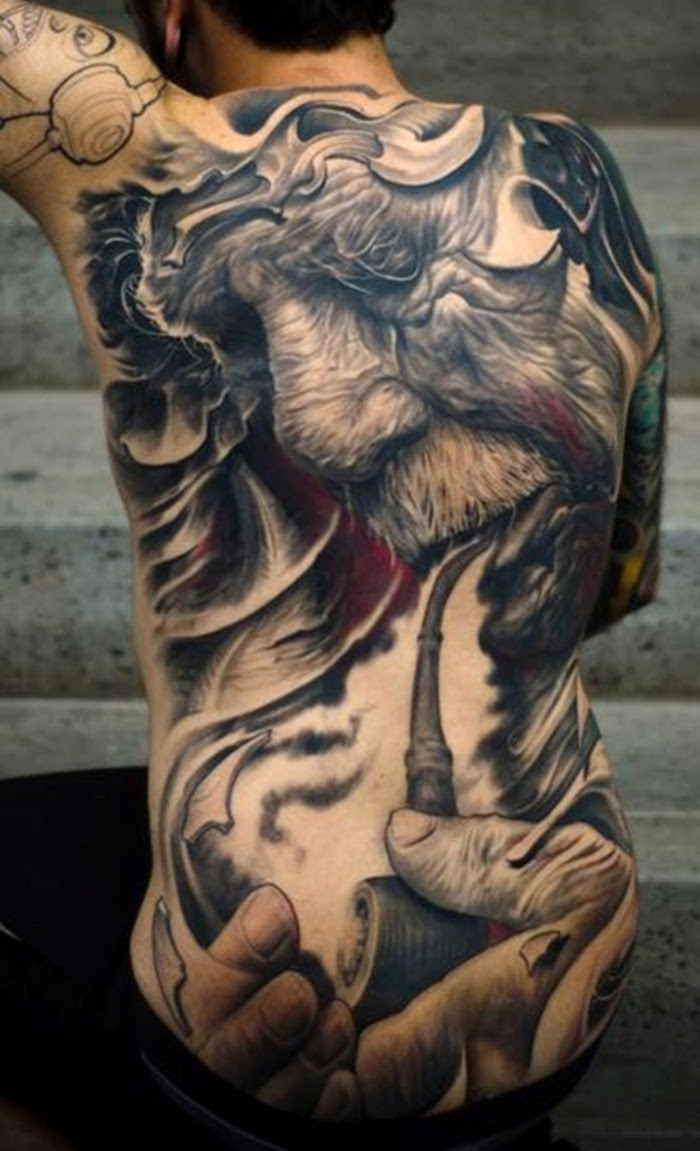 Full Back Tattoo With Grey And Black Ink For Men