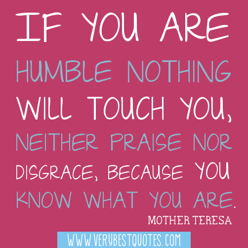 If You Are Humble Nothing Wil Touch You Neither Praise For Disgrace