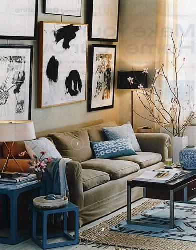 Gorgeous blue & brown living room: Luxe fabrics + modern artwork ...