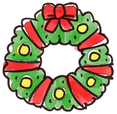 フリー素材 リボンでキレイに飾られたクリスマスリースのイラスト