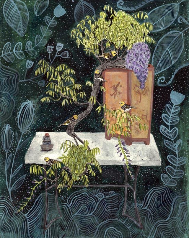 Silvereye birds in Wisteria bonsai