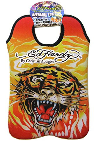 Ed Hardy Designs By Christian Audigier Neoprene Two-Bottle Wine Beverage Tote (Tattoo Tiger Flame)