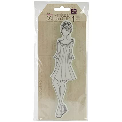 Prima Marketing Mixed Media Doll Cling Rubber Stamps, Doll with Peasant Dress