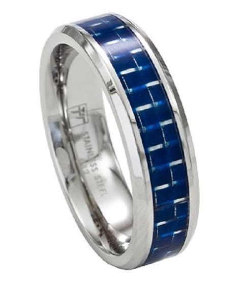 Stainless Steel Men's Wedding Band Promise Ring w/Blue
